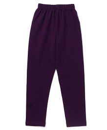Simply Solid Color Full Length Leggings - Dark Purple