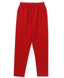 Simply Solid Color Full Length Leggings - Red