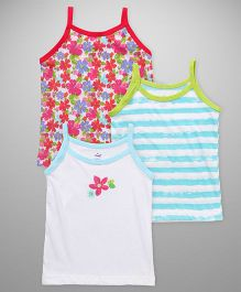 Simply Singlet Slips Printed Pack Of 3 - White Blue Red
