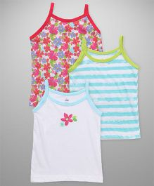 Simply Singlet Slips Printed Pack Of 3 - White Blue Pink