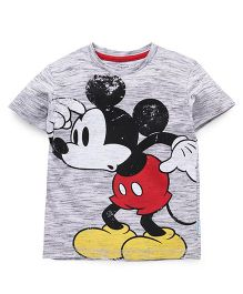 Disney Half Sleeves T-Shirt Mickey Mouse Print - Black Off White