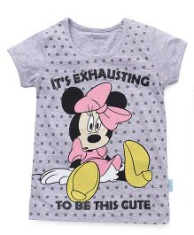 Disney Half Sleeves Tee Minnie Mouse Print - Grey