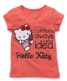 Hello Kitty Half Sleeves Printed Tee - Coral