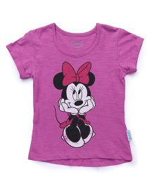 Disney Half Sleeves Tee Minnie Print - Purple