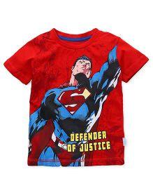 Superman Half Sleeves T-Shirt Defender Of Justice Print - Red