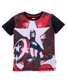 Avengers Half Sleeves T-Shirt Captain America Print - White Black Red