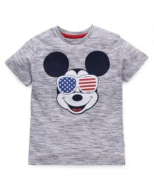 Disney Half Sleeves T-Shirt Mickey Mouse Print - Grey