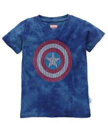 Captain America Half Sleeves Printed T-Shirt - Indigo Blue