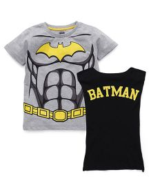 Batman Printed T-Shirts Set of 2 - Grey Black