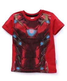 Avengers Half Sleeves Printed T-Shirt - Red