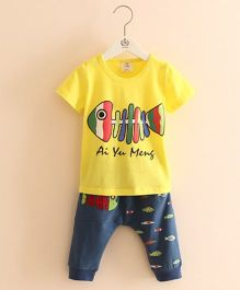 Pre Order - Mauve Collection Cute Fish Print Top & Pant Summer Set - Yellow