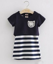 Pre Order - Mauve Collection Butterfly Top & Shorts Summer Set - Navy Blue & White