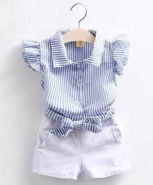 Pre Order - Mauve Collection Classy Stripe Top & Shorts Summer Set - Blue & White