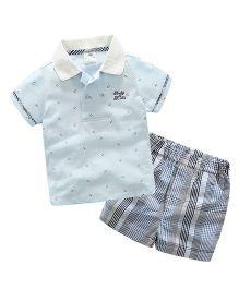 Pre Order - Mauve Collection Trendy Shirt & Shorts Tee & Shorts Summer Set - Blue