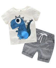 Pre Order - Mauve Collection Cute Print & Patched Tee & Shorts Set - White & Blue