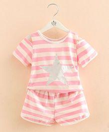 Pre Order - Mauve Collection Cold Shoulder Top & Shorts Set - Pink
