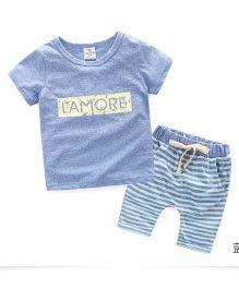 Pre Order - Mauve Collection Lamore Top & Shorts Unistyle Summer Set - Blue