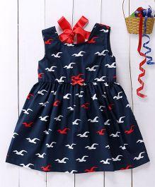 Pspeaches Bird Print Cotton Dress - Blue