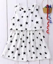 Pspeaches Star Print Cotton Dress - Black & White