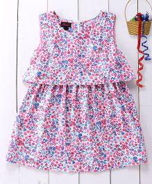Pspeaches Inticate Floral Print Dress - Pink & Blue