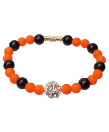 Daizy Bracelet With Beads - Orange & Black