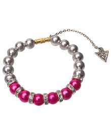 Daizy Bracelet With Beautiful Charms - Hot Pink & Silver