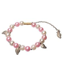 Daizy Beads Bracelet With Beautiful Leaf Charm - Pink & White