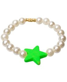 Daizy Star & Pearl Bracelet - Green & White