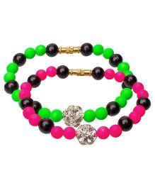Daizy Bead Bracelet Combo Set - Pink & Green