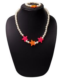 Daizy Star & Pearl Necklace With Bracelet - Hot Pink & Orange