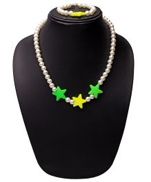 Daizy Star & Pearl Necklace With Bracelet - Yellow & Green