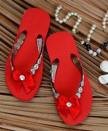 D'Chica Bow Flip Flops - Red