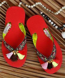 D'Chica Tassles Flip Flop - Red & Black