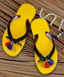 D'Chica Tassles Flip Flop - Yellow & Black