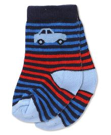 Cute Walk By Babyhug Anti Bacterial Socks Stripes & Car Design - Navy Blue Red