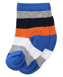 Cute Walk by Babyhug Anti Bacterial Socks Stripes Socks - Blue Orange