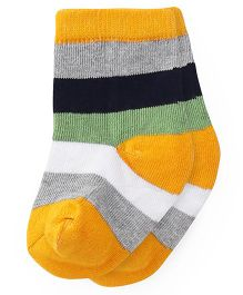 Cute Walk by Babyhug Anti Bacterial Socks Stripes Socks - Yellow Green