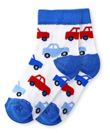 Cute Walk by Babyhug Anti Bacterial Socks Car Design Pack of 2 - Blue White