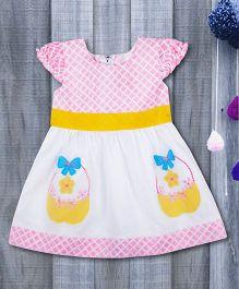 Kid1 Enchanting Floral Basket Summer Party Dress - Baby Pink & White