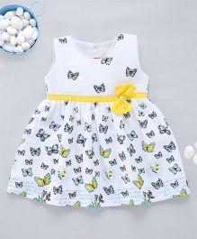 Kid1 ButterflyPrint Cotton Dress - White & Yellow