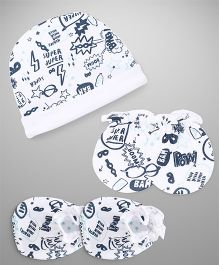 Ben Benny Cap Mitten Booties Set Multi Print - White