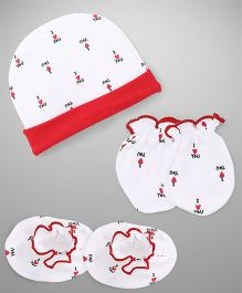 Ben Benny Cap Mitten Booties Set I Love You Print - Red White