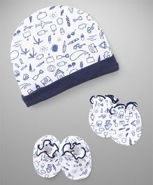 Ben Benny Cap Mitten Booties Set Multi Print - Blue White