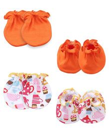 Ben Benny Printed Mittens & Booties Pair of 2 - Orange Multi Color