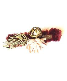 Reyas Accessories Feather & Flower Applique Side Clip - Maroon