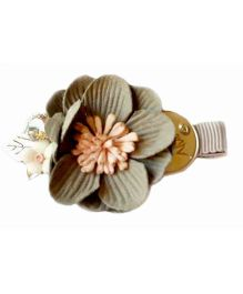 Reyas Accessories Floral Applique Side Alligator Clip - Grey