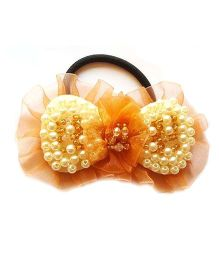 Reyas Accessories Pearl & Crystal Ponytail Bands - Peach