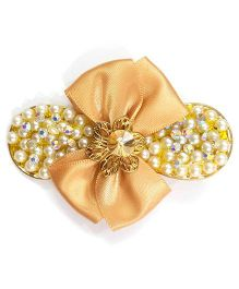 Reyas Accessories Pearl & Crystal Side Clip - Mustard Yellow