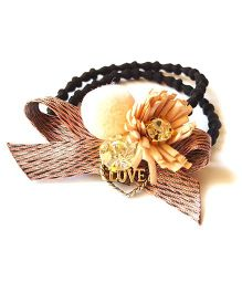 Reyas Accessories Bow Desgin Flower Applique Ponytail Band - Peach