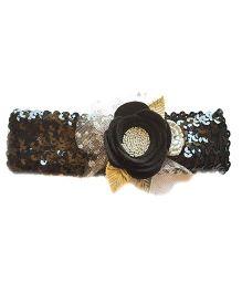 Reyas Accessories Rose Applique Sequence Headband - Black & Pink